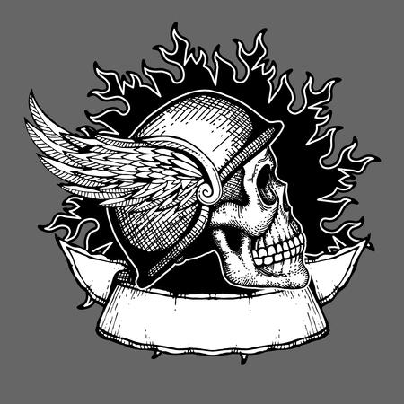 Retro motorcycle vector t shirt design biker skull emblem. Biker tattoo helmet with wings illustration