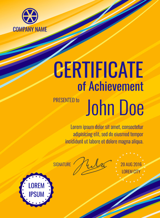 company name: Certificate of achievement template diploma vector layout. Document typography with company name illustration