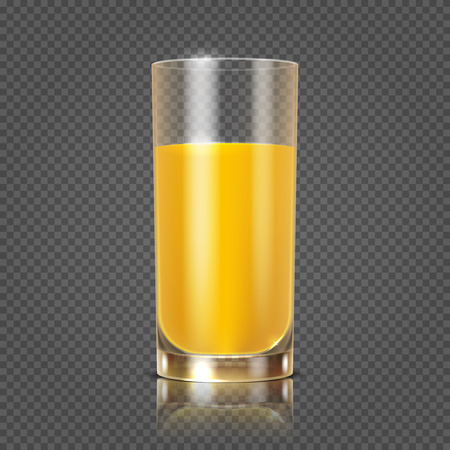useful: Orange juice in glass vector illustration. Useful drink in glossy tableware