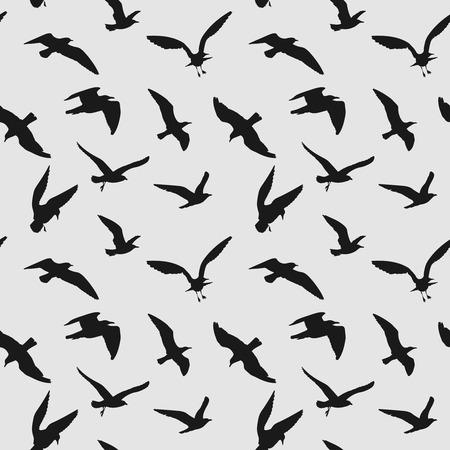 black raven: Vector seamless pattern with flying birds. Black raven silhouette illustration Illustration