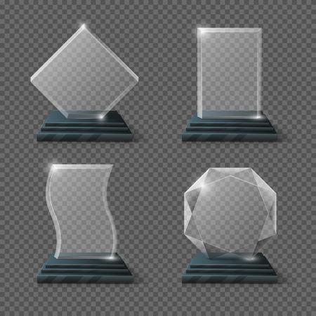 Empty glass trophy awards vector set. Glossy transparent trophy for award illustration