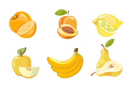 Vector yellow fruits collection isolated over white. Apricot and banana, orange and lemon illustration