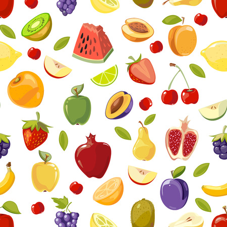 Miscellaneous vector fruits seamless pattern. Background with colored tropical fruit illustration
