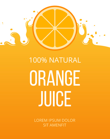 orange juice: Natural orange juice label template. Organic fresh fruit, vector illustration