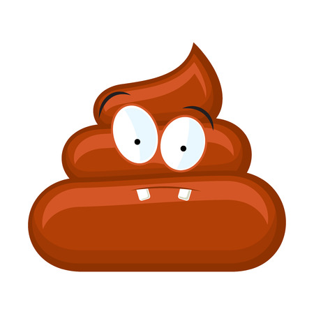 Confused poo with eyes isolated on white background. Vector illustration Illustration