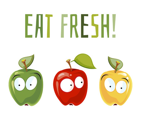 Eat fresh. Surprised apples with eyes.. Fruits with cute face, vector illustration