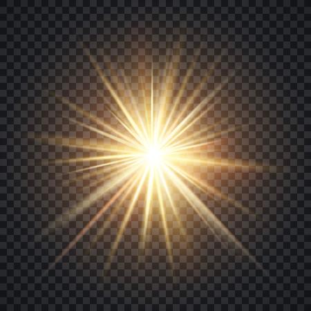 lucero: Vector el efecto de la iluminación realista Starburst, amarillo sol, con rayos y resplandor en el fondo transparente. Brillante estrella iluminado ilustración Vectores