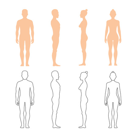 Male and female human vector silhouettes. Man and woman bodies illustration Vettoriali