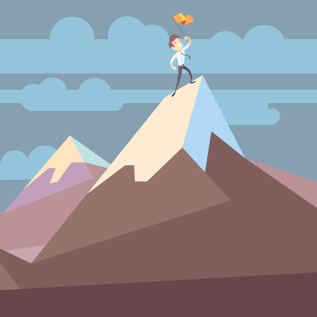 Businessman holding flag on mountain peak success business concept flat vector illustration. Business victory and triumph Illustration