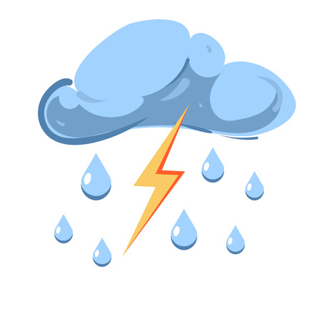 partly sunny: Vector cloud with falling rain and striking lightning isolated on white background. Stormy and thunderstorm illustration