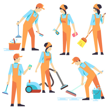 vacuuming: Cleaning staff in different positions. Vector illustration. Cleaning service, people vacuuming and washing
