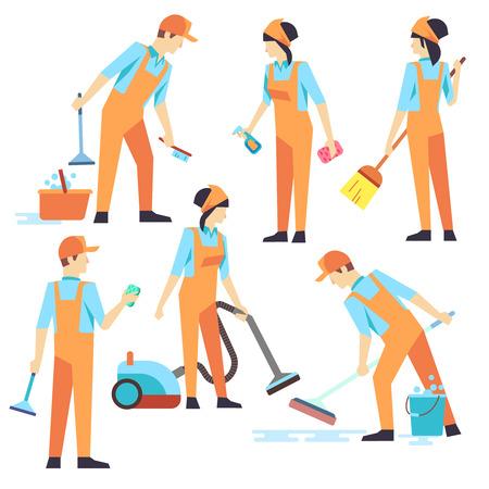 El personal de limpieza en diferentes posiciones. Ilustración del vector. Servicio de limpieza, pasar la aspiradora y lavar las personas