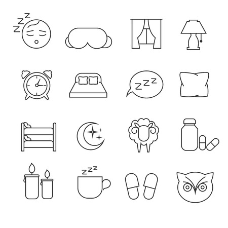 bedtime: Sleeping bed time rest thin line outline vector icons. Dream and bedtime, sheep and mask for sleep illustration