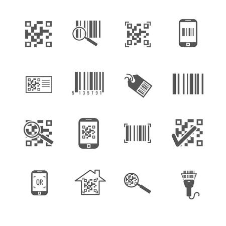 qrcode: Scan bar and qr code vector icons. Information in barcode, digital qrcode illustration Illustration
