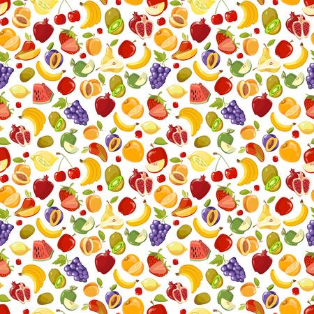 miscellaneous: Miscellaneous vector fruits seamless pattern. Banana kiwi and orange illustration