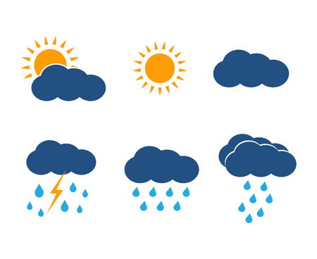 meteorologist: Vector weather icons set. Sun, clouds, rain and lightning in color flat style design illustration