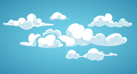 Blue sky and white clouds vector illustration. Cloudscape fluffy in atmosphere Illustration