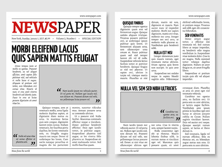 Vintage newspaper journal vector template. Paper tabloid on newsprint, reportage information illustration