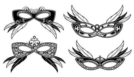 masquerade masks: Veneto masquerade masks with lace luxury pattern vector. Carnival venetian mask for face illustration