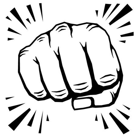 punching: Punching fist hand vector illustration. Human protest symbol or strong strike
