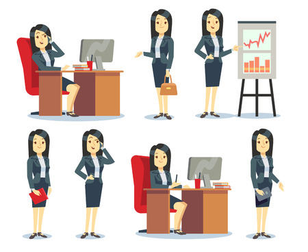 Office businesswoman in various situations vector characters cartoon flat set. Woman worker busy illustration
