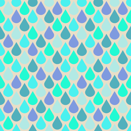 Teal and purple water drops seamless pattern. Abstract rain wallpaper, vector illustration