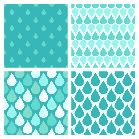 absract art: Set of turquoise vector water drops seamless patterns. Abstract rain illustration
