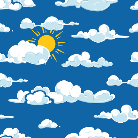green day baby blue background: Vector clouds weather seamless pattern. Background blue sky with sun illustration