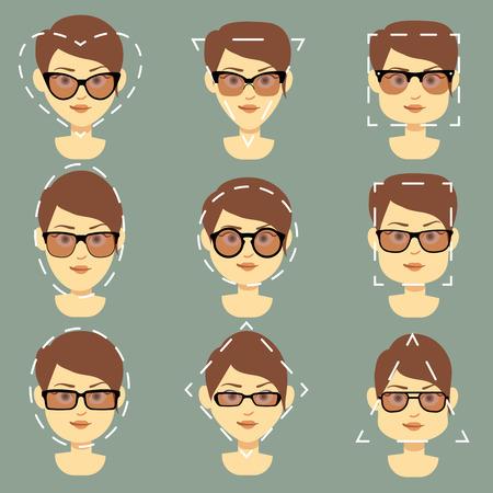 적합: 다른 여성에 적합한 다른 선글라스 형 벡터 인포 그래픽에 직면 해있다. 태양 그림과 보호 안경