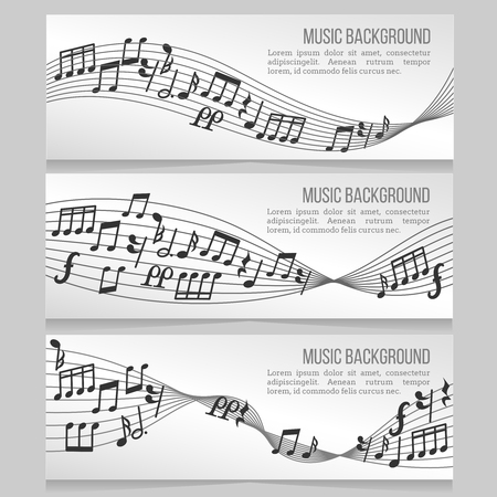 sound card: Music banners vector set with music notes and sound wave. Card with music note for melody illustration
