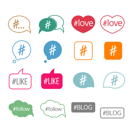 sharing information: Hashtag flat vector icons set for social media and sharing information illustration