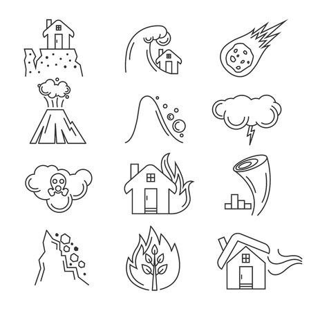 hurricane disaster: Natural disaster icons. Earthquake and tornado, hurricane and tsunami, vector illustration