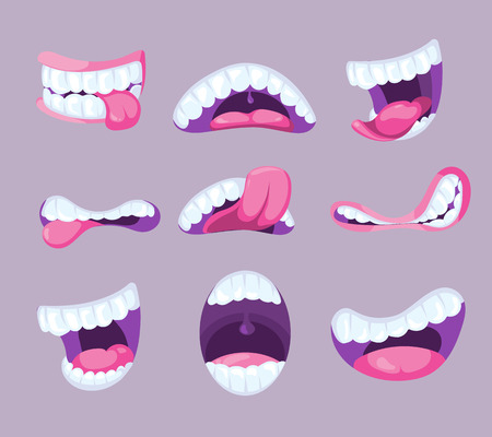 pharynx: Funny vector comic mouths expressing different emotions. Fun pharynx with tooth and pink tongue illustration