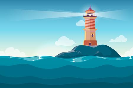 Vuurtoren op rots stenen eiland cartoon vector achtergrond. Baken in de oceaan voor navigatie illustratie