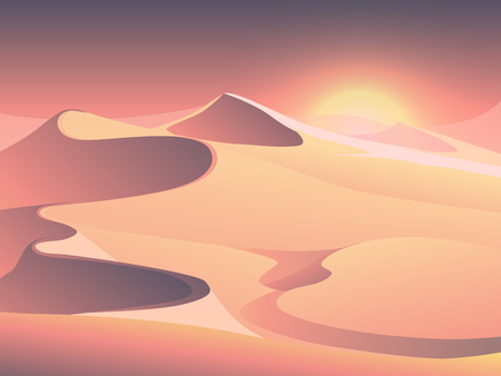 sand dunes: Desert sunset vector landscape with sand dunes. Sunrise in sandy valley illustration