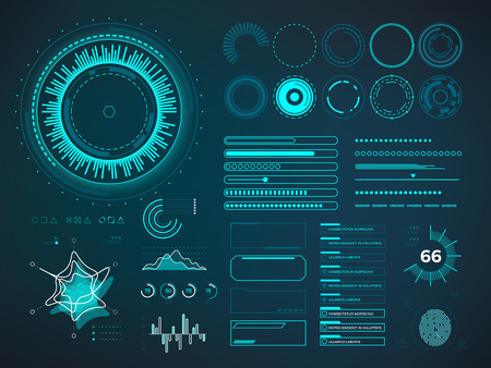 Futuristic user interface HUD. Infographic vector elements. Digital dashboard panel illustration