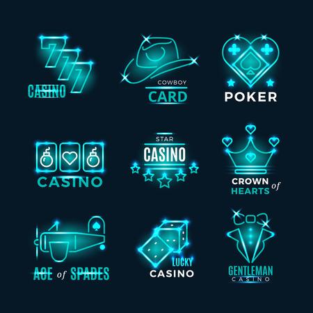 Vintage neon poker tournament and casino vector icons. Logo for casino club illustration Illustration