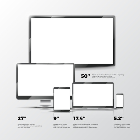 flat screen: Blank TV screen, Lcd monitor, notebook, tablet computer, smartphone mockups isolated on white background. Electronic devices computer design. Vector illustration