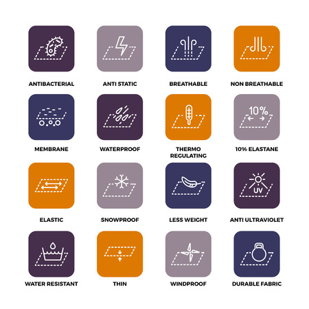 Garments fabric technology and properties vector icon set. Antibacterial and breathable material illustration