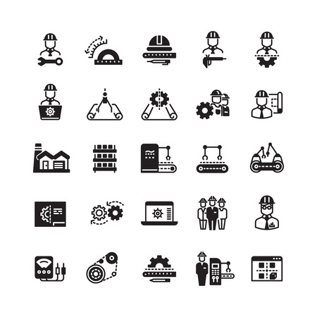 Engineering manufacturing industrial vector icon set. Process conveyor mechanical, operation automatic processing illustration