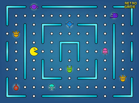 arcade: Pacman like video arcade game with ghosts, labyrinth and user interface vector. Retro game with cartoon monster illustration Illustration