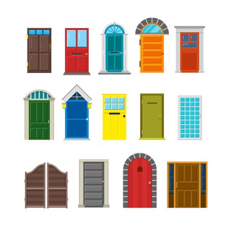 doorway: Front house doors flat vector set. Enter doorway to home illustration