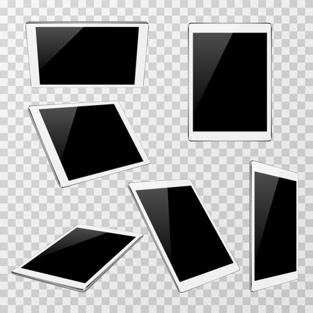 angles: White vector tablet at different angles of view isolated on transparent plaid background. Set of modern portable gadget illustration