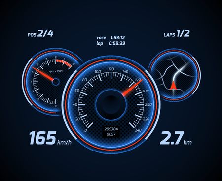 Racing car computer and app smartphone game dashboard with speedometer and gps. Vector illustration