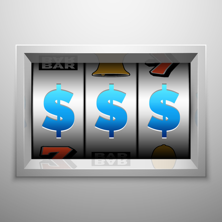 slot in: Slot machine, fruit machine or one armed bandit scoreboard. Gambling puggy vector concept. Winning jackpot in casino game illustration Illustration