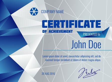qualification: Qualification certificate vector modern template with polygonal background. Diploma presented from company illustration Illustration