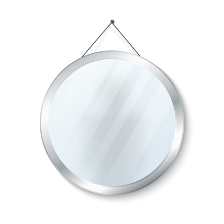 steel frame: Round mirror with steel frame vector illustration. Glossy circle mirror isolated on white background