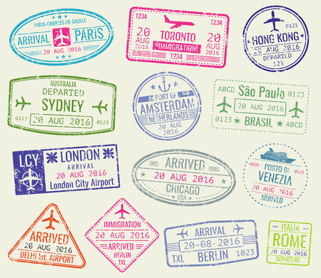 International travel visa passport stamps vector set. Paris and toronto, hong kong and port of amsterdam illustration Reklamní fotografie - 63723660