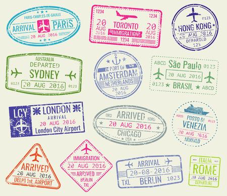 Viajes internacionales visa pasaporte sellos conjunto de vectores. París y toronto, hong kong y puerto de amsterdam ilustración Ilustración de vector