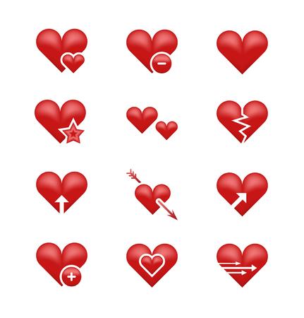 Hart liefde emoticons emoticons vector set. Gebroken hart, pijl en ster illustratie